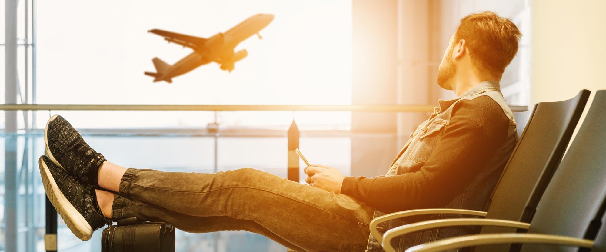 Mobiltelefon på flygplats